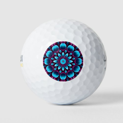 Purple Pipes  Vintage Blue Fractal Kaleidoscope Golf Balls
