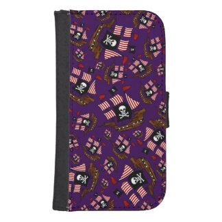 Purple pirate ship pattern galaxy s4 wallet case