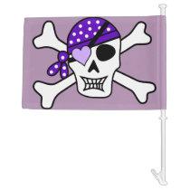 Purple Pirate Skull & Crossbones Car Flag