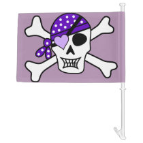 Purple Pirate Skull & Crossbones Car Flag