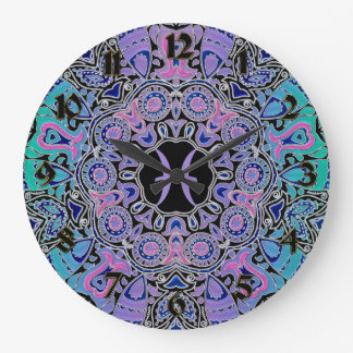 Purple Pisces Mandala Large Clock