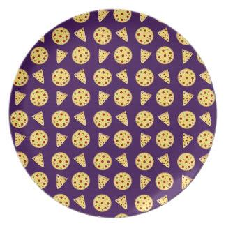Purple pizza pattern dinner plate
