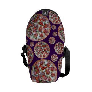Purple pizza pie messenger bags