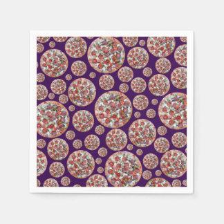Purple pizza pie disposable napkins