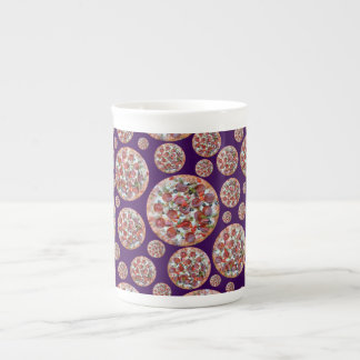 Purple pizza pie bone china mug