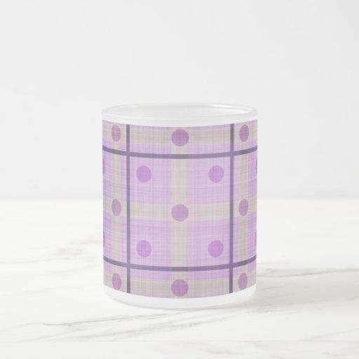 Purple Plaid and Polka Dots Coffee Mugs