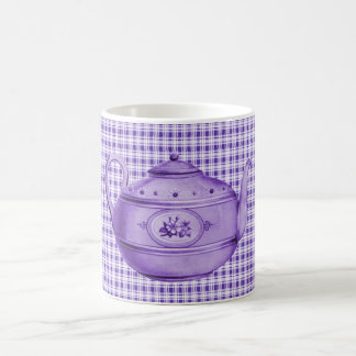 Purple Plaid and Teapot Coffee Mug