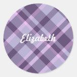 Purple Plaid Classic Round Sticker