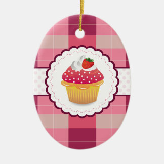 Purple Plaid cupcake Fun Double-Sided Oval Ceramic Christmas Ornament