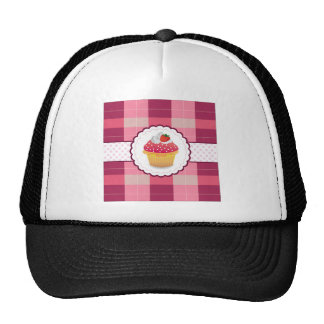 Purple Plaid cupcake Fun Mesh Hats