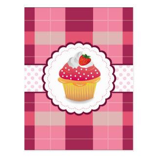 Purple Plaid cupcake Fun Postcard