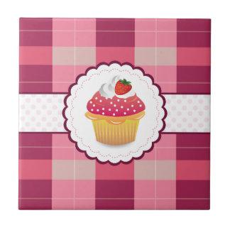 Purple Plaid cupcake Fun Tile