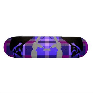 Purple Plaid Fisher Skate Board Deck