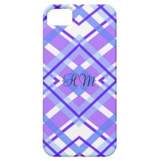 Purple Plaid Monogram Custom Initials iPhone SE/5/5s Case