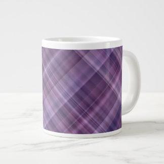 Purple plaid pattern large coffee mug