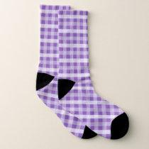 Purple Plaid Patterned Socks