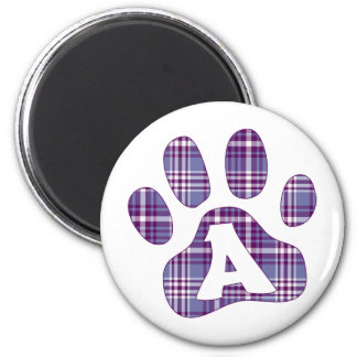 Purple Plaid Paws A 2 Inch Round Magnet