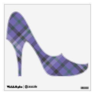 Purple plaid shoe decor for a rockstar room - wall sticker