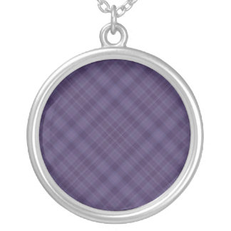 purple plaid silver plated necklace