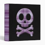 Purple Plaid Skull 3 Ring Binder