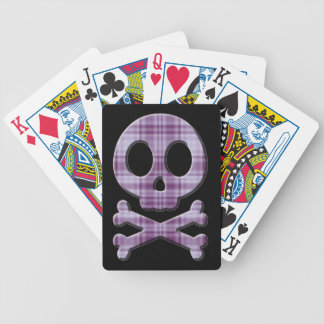 Purple Plaid Skull Bicycle Playing Cards
