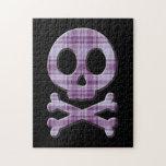 Purple Plaid Skull Jigsaw Puzzle