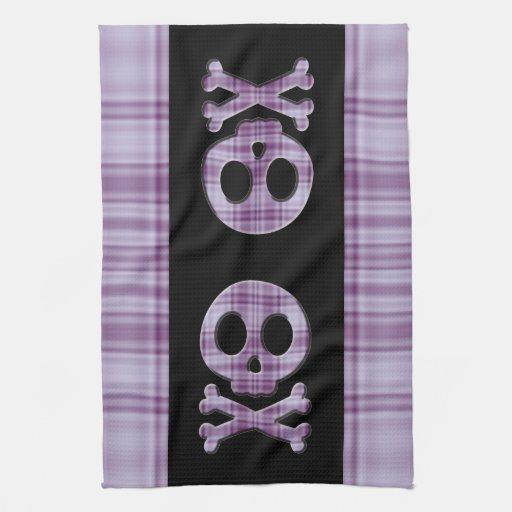 Purple Plaid Skull Kitchen Towel