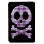 Purple Plaid Skull Magnet
