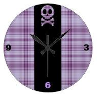 Purple Plaid Skull Round Clock