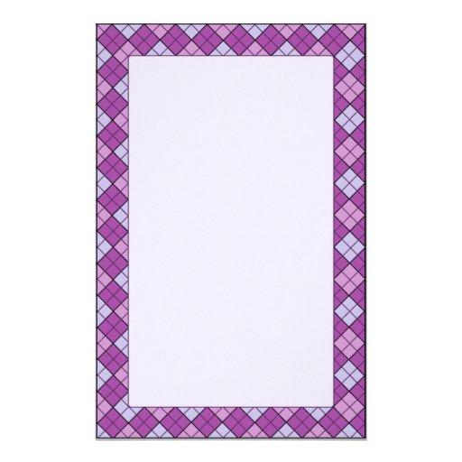 Purple Plaid Stationery Unlined