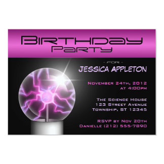"Purple Plasma Ball Birthday Party Invitations 5"" X 7"" Invitation Card"