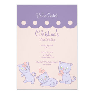 "Purple Playful Kittens Birthday Party Invitation 5"" X 7"" Invitation Card"