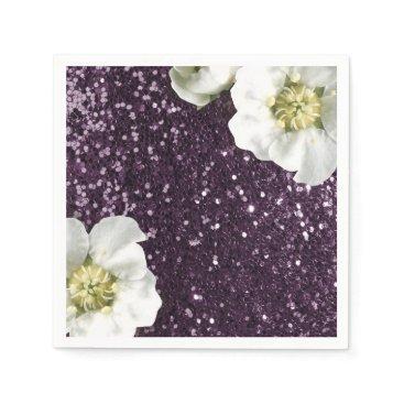 Beach Themed Purple Plum Beach Jasmin Glitter Sequin Sparkl Napkin