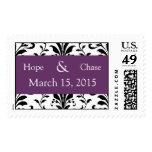 Purple Plum & Black Damask Swirl Wedding Stamp