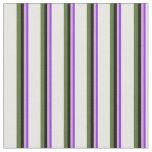 [ Thumbnail: Purple, Plum, Black, Dark Olive Green & White Fabric ]