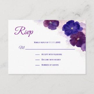Purple Plum Blue Watercolor Floral RSVP Wedding
