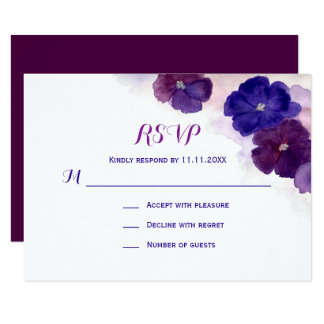 Purple Plum Blue Watercolor Floral RSVP Wedding Card