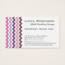 Purple Plum Chevron ZigZag Monogram Business Card