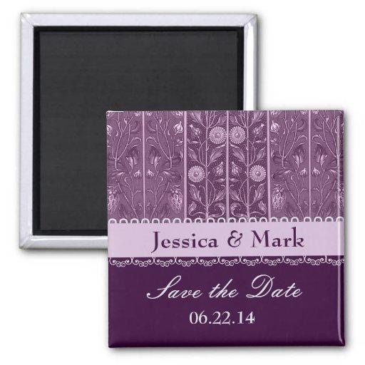 Purple Plum Damask Save Date Wedding Magnet