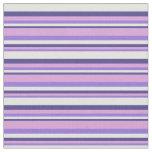 [ Thumbnail: Purple, Plum, Dark Slate Blue & Light Cyan Lines Fabric ]