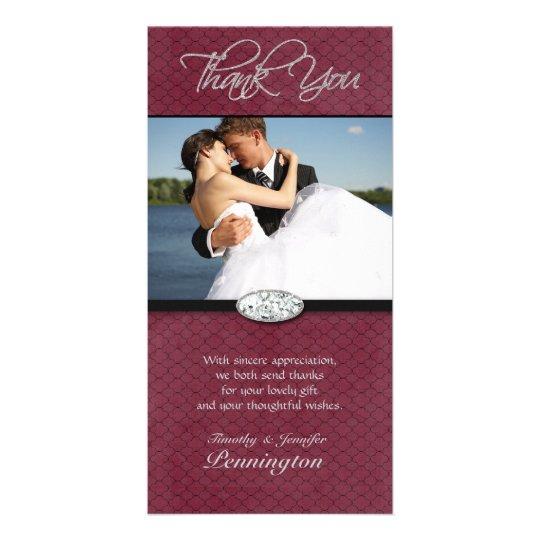 Purple plum diamond wedding thank you photocard card