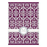 Purple Plum Diamonds & Lace, Monogrammed Wedding Invitation