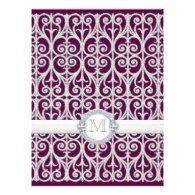 Purple Plum Diamonds & Lace, Monogrammed Wedding Personalized Invitation