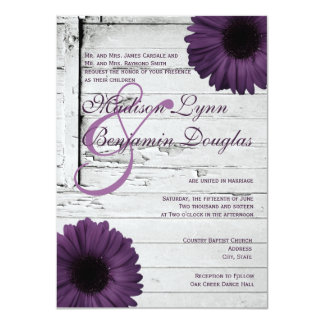 "Purple Plum Gerber Daisy Wedding Invitations Ver2 4.5"" X 6.25"" Invitation Card"