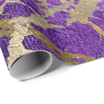 Purple Plum Gold Marble Shiny Metallic Leather VIP Wrapping Paper