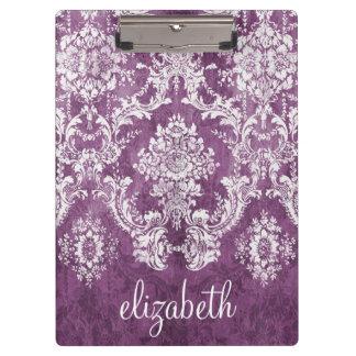 Purple Plum Grunge Damask Pattern with Name Clipboard