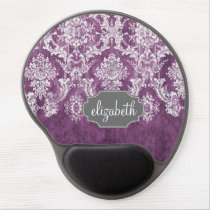 Purple Plum Grunge Damask Pattern with Name Gel Mouse Pad