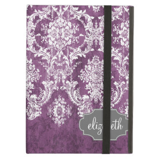 Purple Plum Grunge Damask Pattern with Name iPad Air Cases