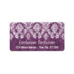 Purple Plum Grunge Damask Pattern with Name Label