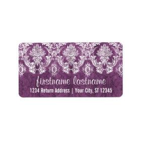 Purple Plum Grunge Damask Pattern with Name Address Label